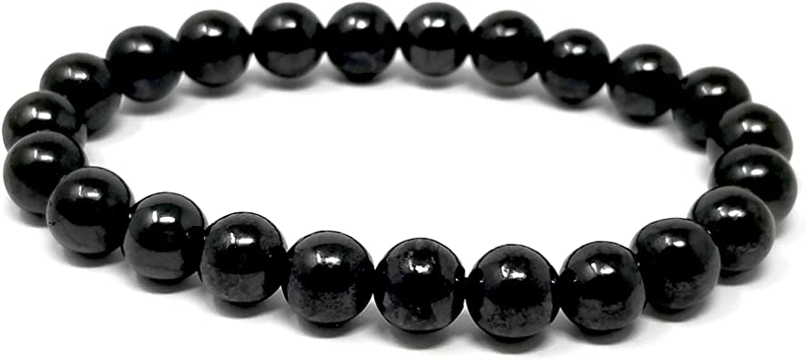 To protect kids from EMF Bracelet natural stone shungite ball 8mm braided wax cord 5G Caring gift