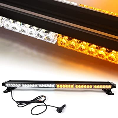 38'' 78 LED 7 Flash Mode Traffic Advisor Four Side Rooftop Emergency Hazard Warning Strobe Light with Four Strong Magnetic Base, 78W, IP65 Waterproof for Snow Plow, Trucks or Construction Vehicles: Automotive