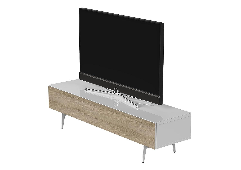 Sonorous STA 360F-WHT-MOL-SL stehende TV-Lowboard auf weißem Fußgestell mit weißer Korpus, obere Fläche, gehärtetem Weißglas und Klapptür in Holzdekor Molina