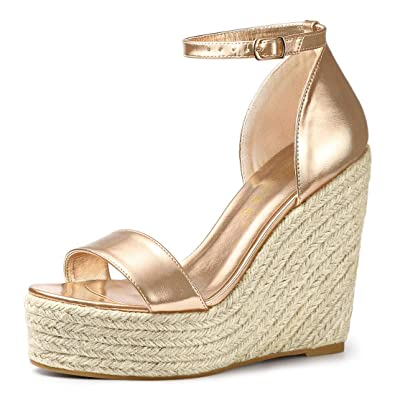 55330284581 Allegra K Women s Open Toe Espadrille Wedges Rose Gold Platform Sandals - 6  ...