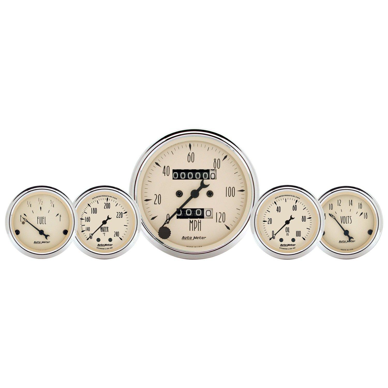 Mech Speedo Wtmp /& Oilp Auto Meter AutoMeter 1811 Gauge Kit 3 1//8 /& 2 1//16 5 Pc Antq Beige