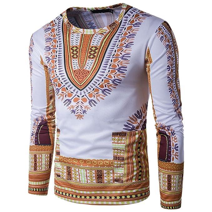 CX-Store Cuello Redondo De Los Hombres Dashiki Camisas Impresas Tradicionales Tops De Manga Larga Africana: Amazon.es: Ropa y accesorios