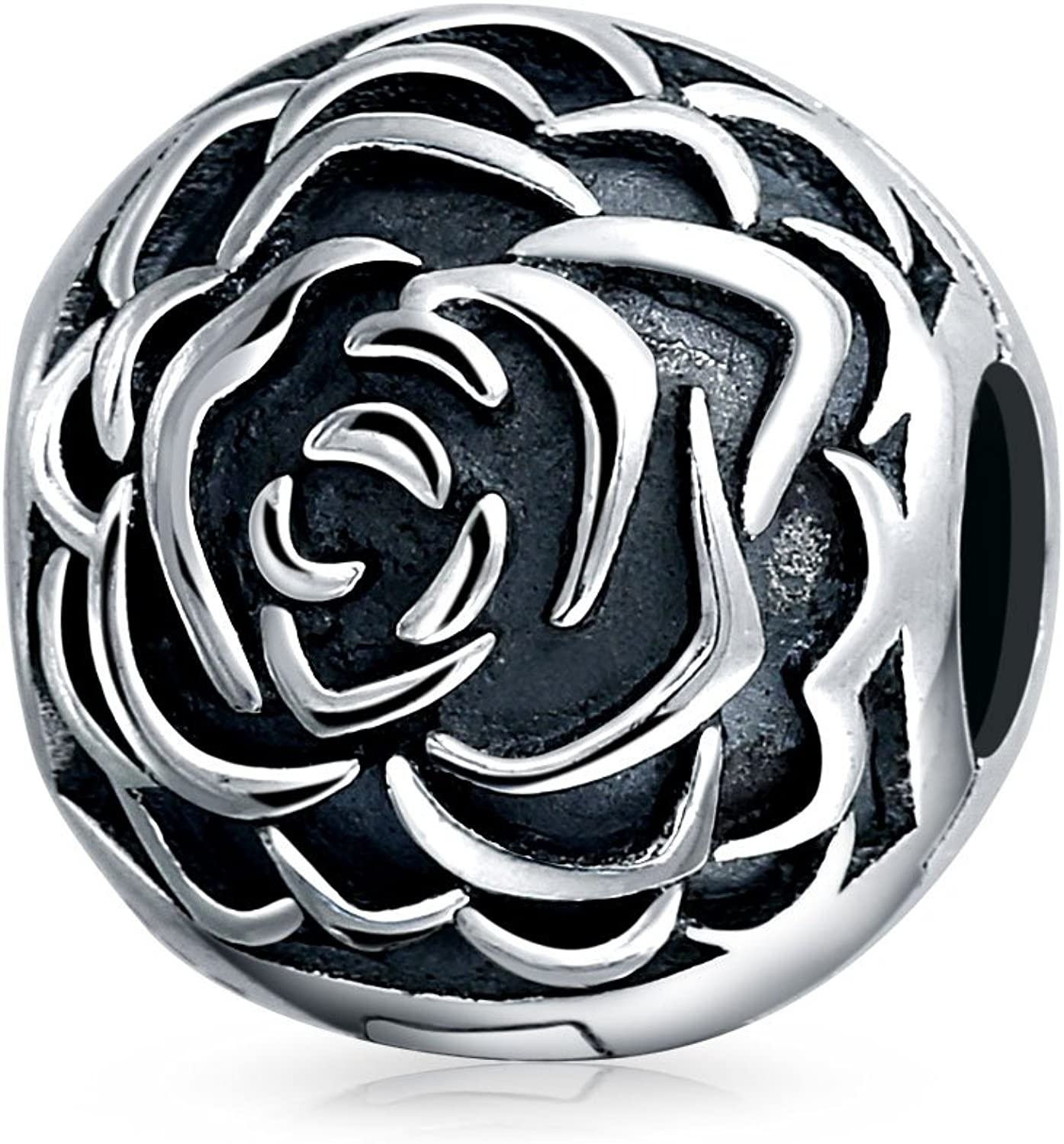 Rose Bloom Floral Barrel Spacer Stopper Bead Charm For Women Oxidized Sterling Silver Snap Clasp Fits European Bracelet