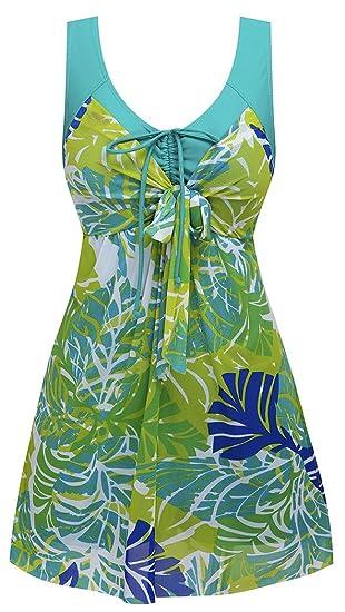faa57b67f4 Amazon.com   T-dream Women s Flower Printing Modest 1 Piece Swimwear Cover  Up swimdress Plus Size Greenbanana Meduim   Sports   Outdoors