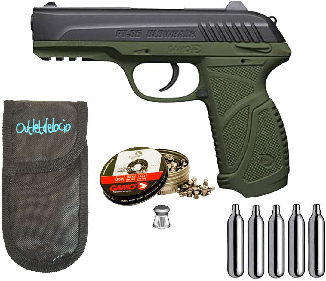 Outletdelocio. Pistola Perdigón Gamo PT-85 4,5mm Blowback Olive Drab + Funda Portabombonas + Balines + Bombonas co2. 29318/38203/23054