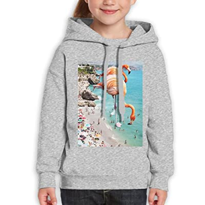 8df9073299e FASHIONGI Beach Flamingos Unisex Youth Hoodie Cotton Pullover Drawstring  Hooded Sweatshirt For Boys Girls