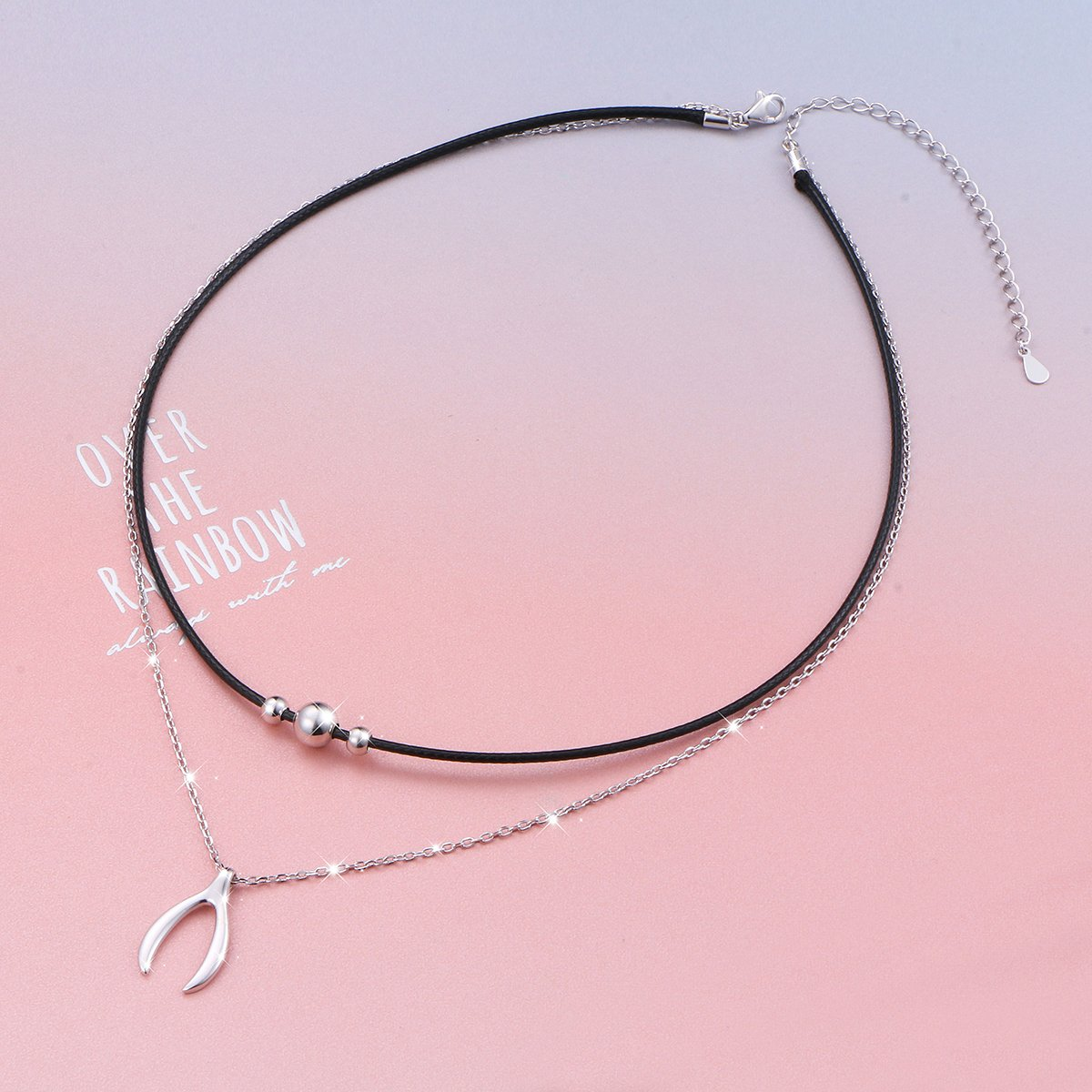 925 Sterling Silver Good Luck Wishbone Bead Charm Choker Necklace Gift for Women by LINLIN FINE JEWELRY (Image #2)