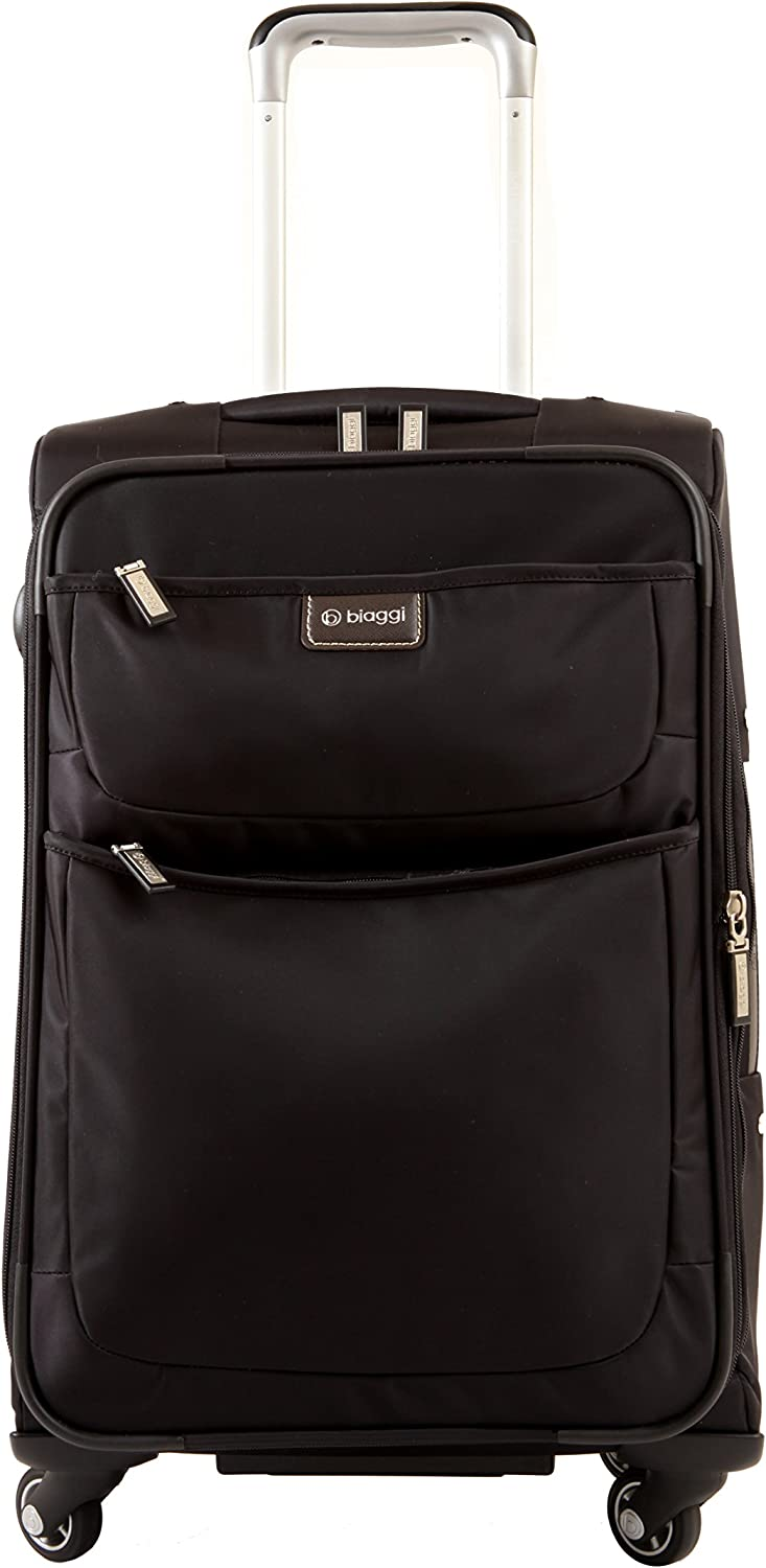 Compact Luggage 22-Inch As Seen on Shark Tank Biaggi Contempo Foldable Spinner Carry-On Suitcase Black