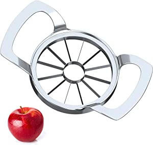 Apple Slicer Upgraded 2021, Cookfree 12-Blade Extra Large Apple Corer Peeler, Stainless Steel Ultra-Sharp Apple Cutter, Fruit Corer & Slicer, Divider, Wedger, Decorer Tool for Up to 4 Inches Apples