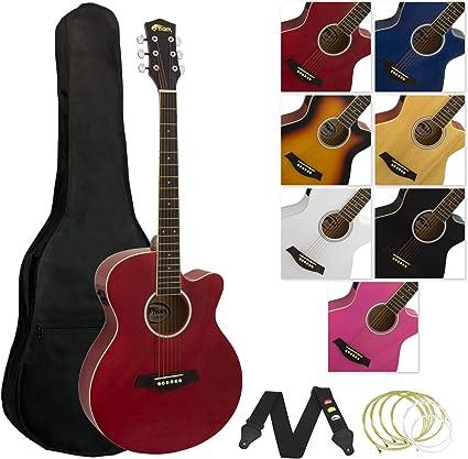 Tiger - Guitarra electroacústica con accesorios, color rojo ...