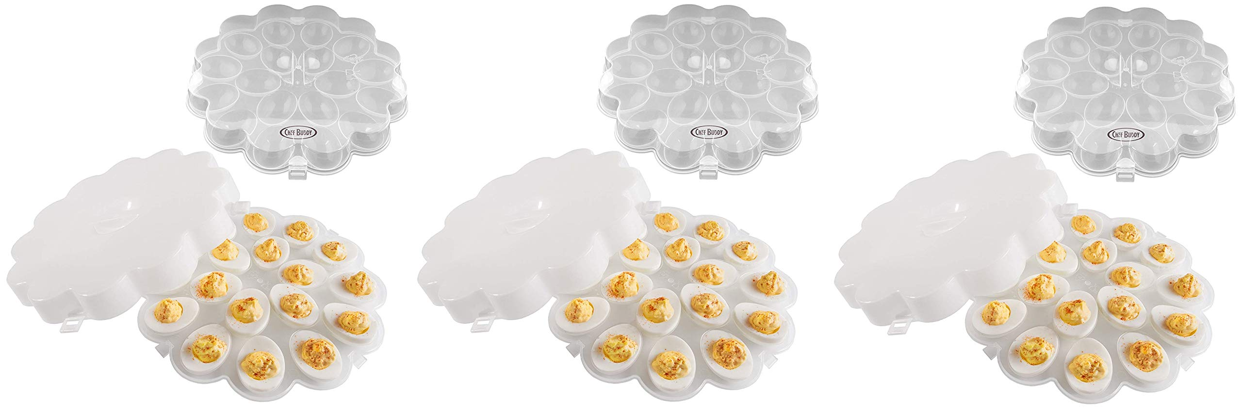Chef Buddy 82-Y3458 Deviled Egg Trays with Snap On Lids, Set of 2 (Тhree Pаck)