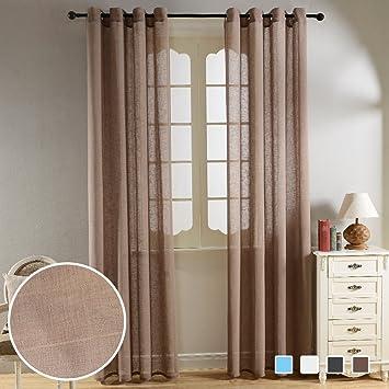 Amazon.com: Top Finel Faux Linen Semi-Sheer Curtains Window ...