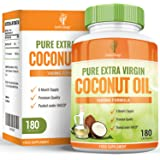 Coconut Oil - 1000mg Coconut Oil Capsules - Pure & Virgin Oil with Natural MCT Fatty Acids - For Men & Women - 180 Capsules (3 Months Supply) by Earths Design