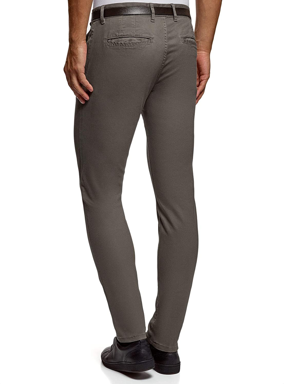 oodji Ultra Hombre Pantalones de Algod/ón con Cintur/ón