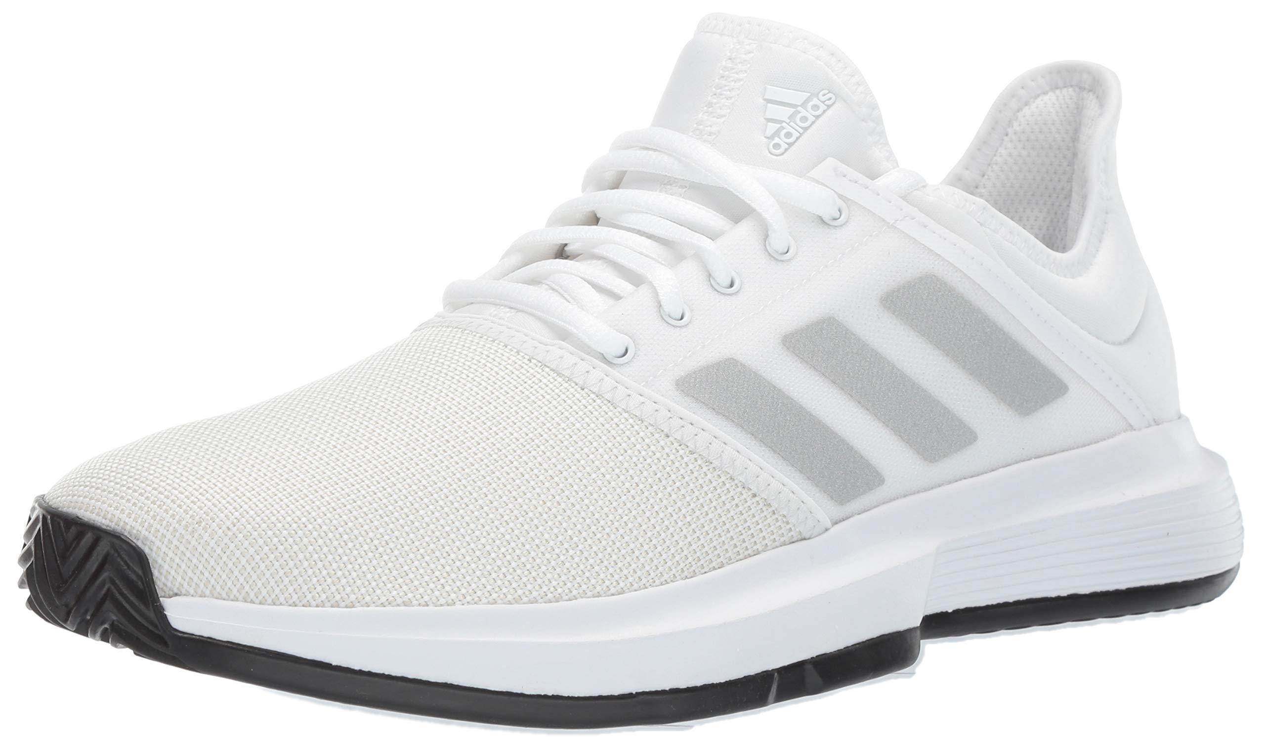 adidas Men's Gamecourt, White/Matte Silver/Black, 7.5 M US by adidas (Image #1)