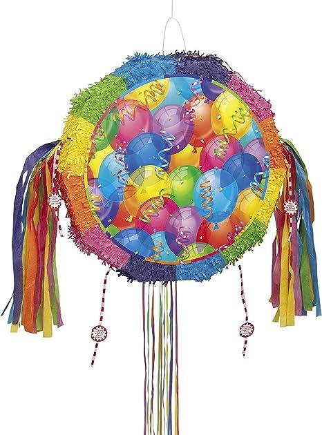 Unique Party 26841 Pinata Ballons Brillante Avec Ficelle à Tirer