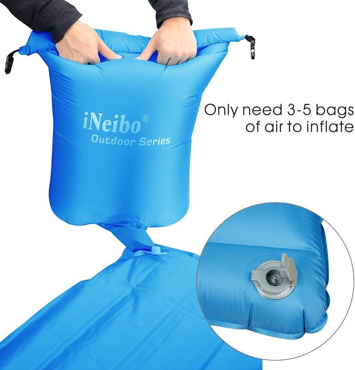hecho de material de TPU con coj/ín integrado Esterilla para dormir al aire libre Tama/ño: 186x60x8,5cm Azul iNeibo Colch/ón de aire de camping ultraligero