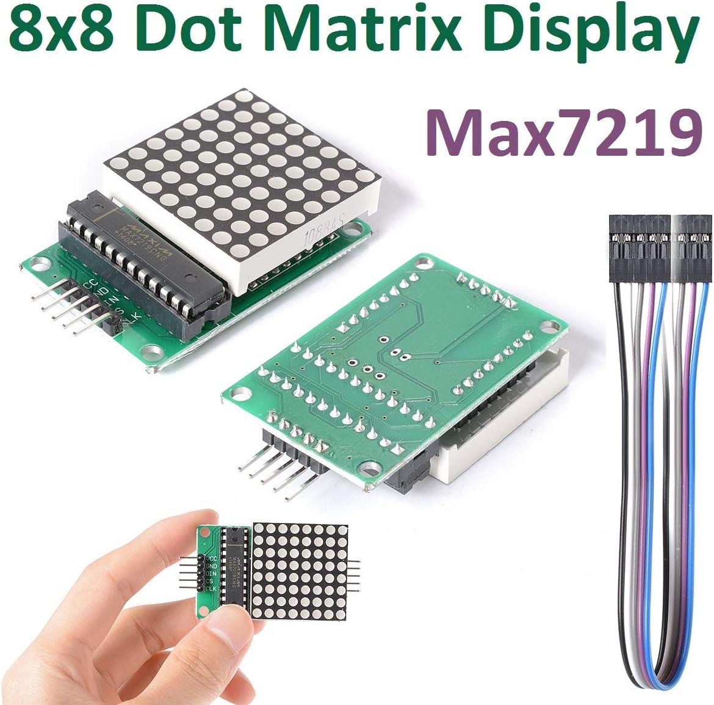 iHaospace 2 Pcs MAX7219 8x8 Dot Matrix Module Red LED Matrix Display Module Control DIY Kit for Arduino and Raspberry Pi