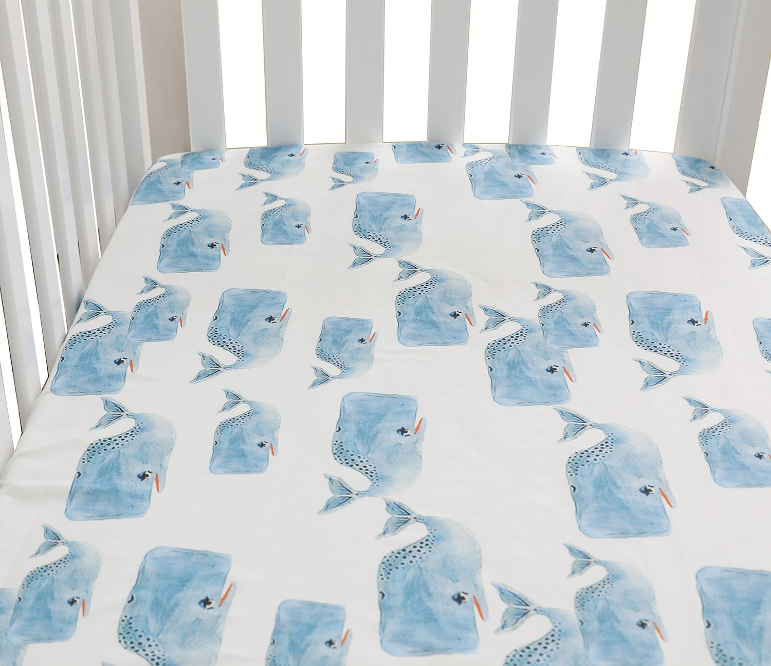 Baby Boy Floral Fitted Crib Sheet Toddler Bed Mattresses fits Standard Crib Mattress 28x52 (Whale)