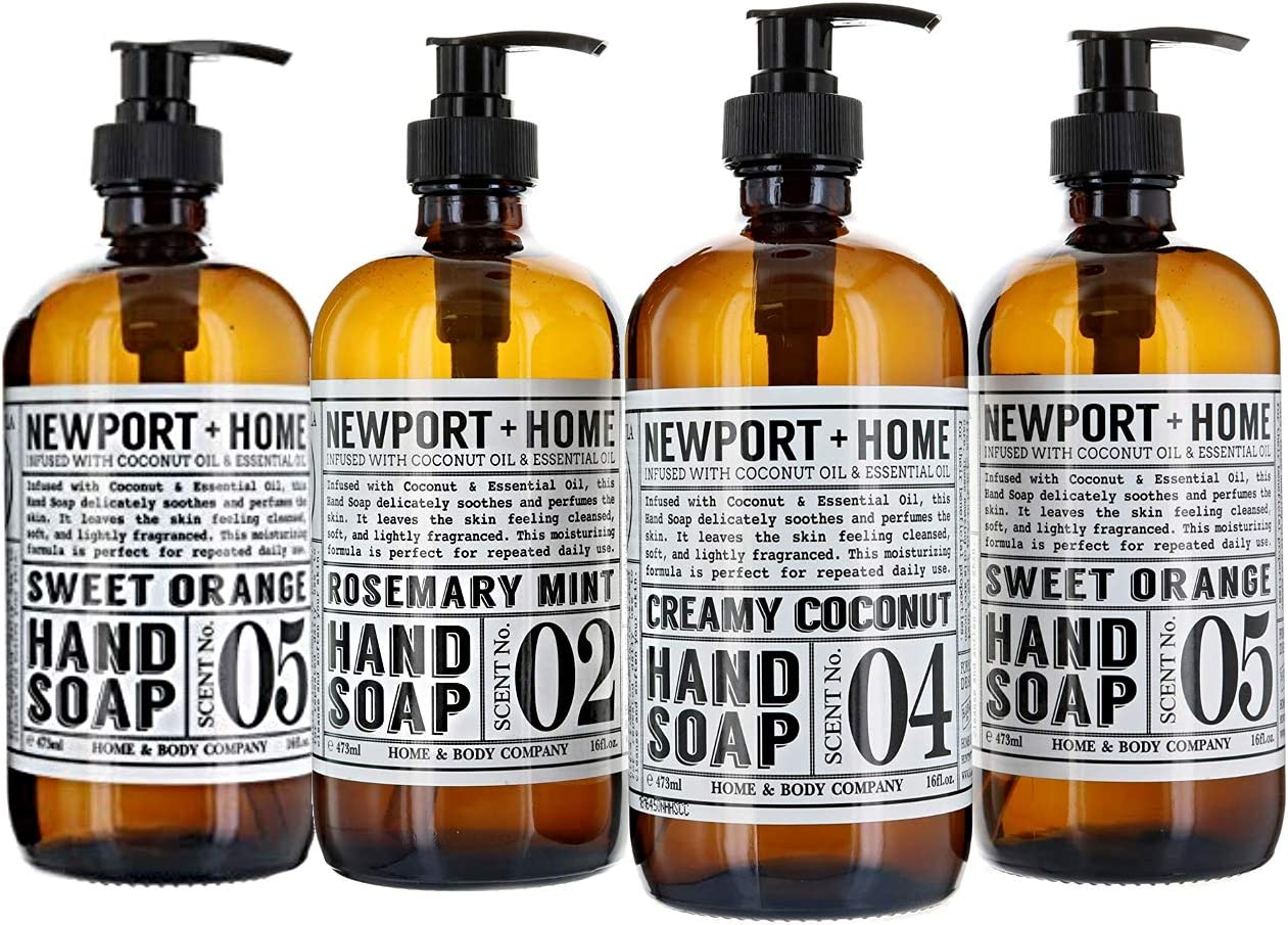 Newport Home Hand Soap Collection Infused With Coconut Essential Oils; Rosemary Mint, Creamy Coconut & Sweet Orange Gift Set - 16 fl oz.