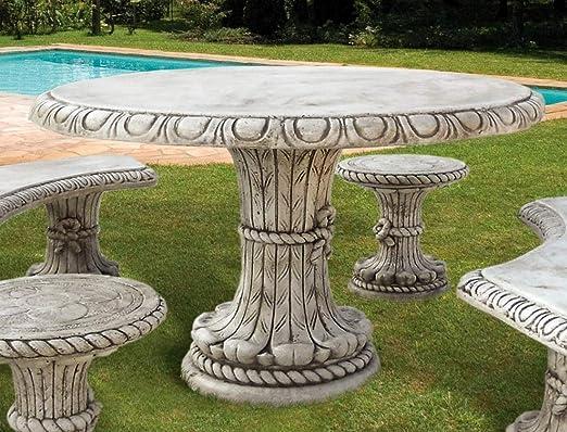 piedra – Mesa redonda Friuli Diámetro 130, weiss: Amazon.es: Jardín