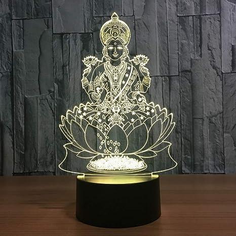 Lixiaoyuzz 3D Lámparas De Mesa Lakshmi 7 Cambio De Color De ...