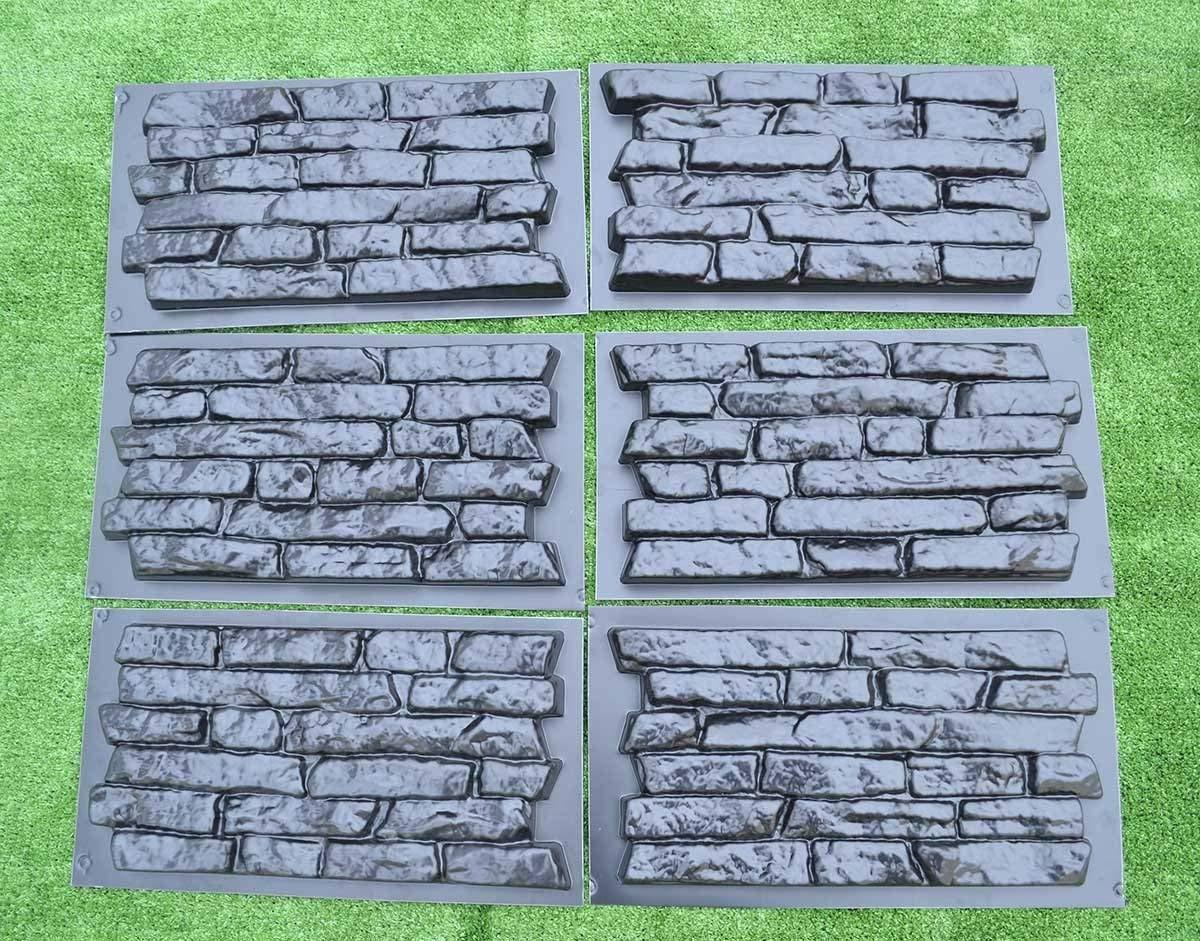 SET 6 pcs PLASTIK MOLD CONCRETE PLASTER WALL STONE TILES FOR FORMS WALL #W17