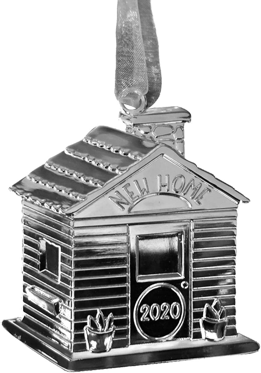 New Home Ornament 2020 – Housewarming Presents for New Home – Premium Silver Metal New House Ornament – Includes Lovely Hanging Ribbon and Silver Mesh Bag