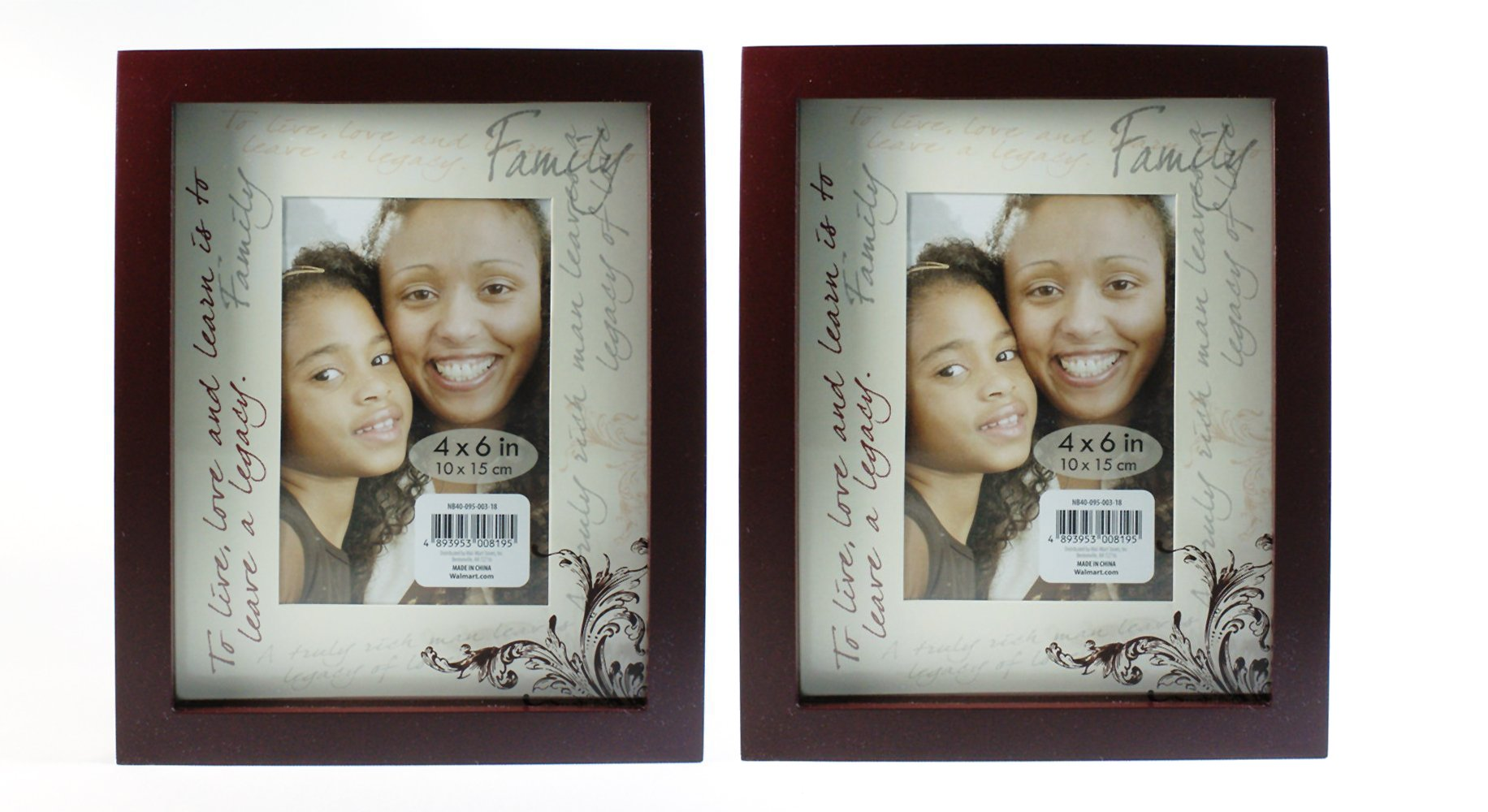 Family ''To Live, Love And Learn Is To Leave A Legacy'' - Shadow Box Photo Frame - Tabletop Standard-Size 4''x6'' - 2 Pack by B&G