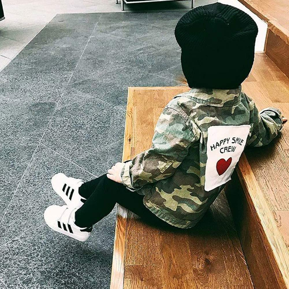 Kids Baby Boys Girls Camouflage Letters Print Coat Button Down Denim Jackets Outwear 2-8 Years