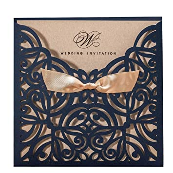 WISHMADE Square Elegant Laser Cut Wedding Invitations Cards With Bowknot Navy Blue Lace Sleeve Printable