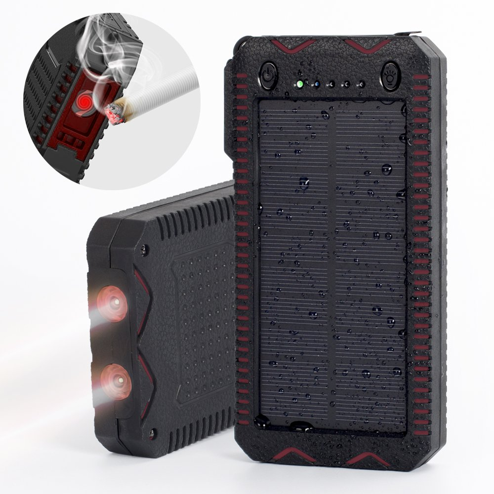 Elzle 25000mAh Portable Solar Power Bank Dual USB Output Battery Bank with Strong LED Light, Outdoor Solar Charger Phone External Battery Shockproof Dustproof for iPhone Series, Smart Phone, More