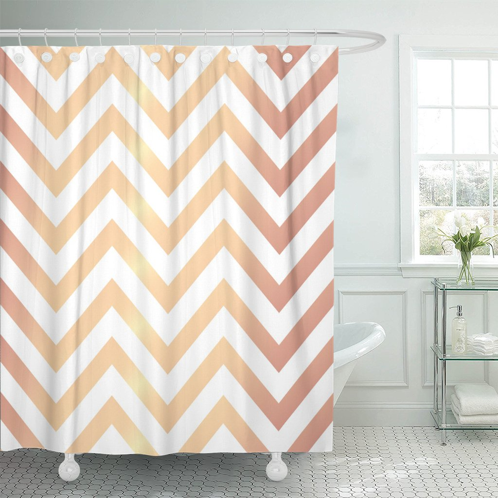Amazon Emvency Shower Curtain Pattern Rose Gold Chevron Patterned On Abstract Elegant Luxury Waterproof Polyester Fabric 60 X 72 Inches Set With Hooks
