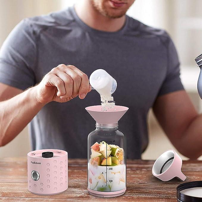 Personal Blender, popbabies Travel Blender para Single, USB recargable Licuadora para batidos y batidos más y más rápido con Ice Tray Embudo y recetas (FDA y sin BPA) Prinzessin Rosa: Amazon.es: Hogar