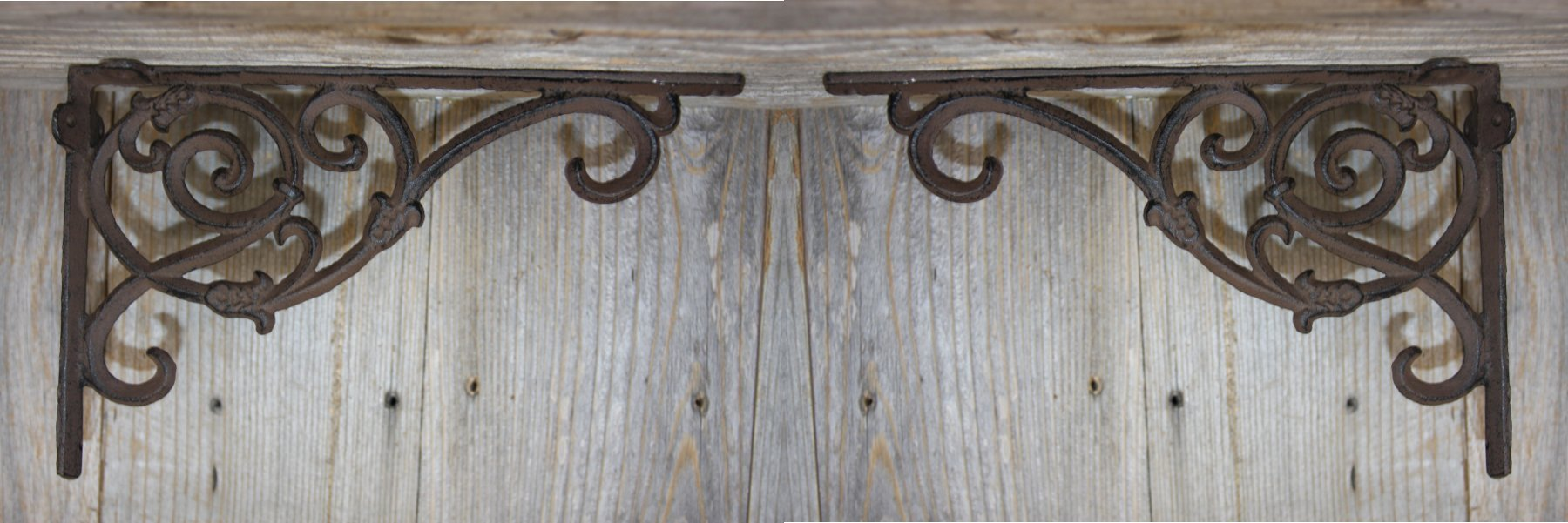 Old Fashion Vintage-style Entryway Door Corner Shelf Brackets Solid Cast Iron 9 1/4 inches, Set of 2, B-62