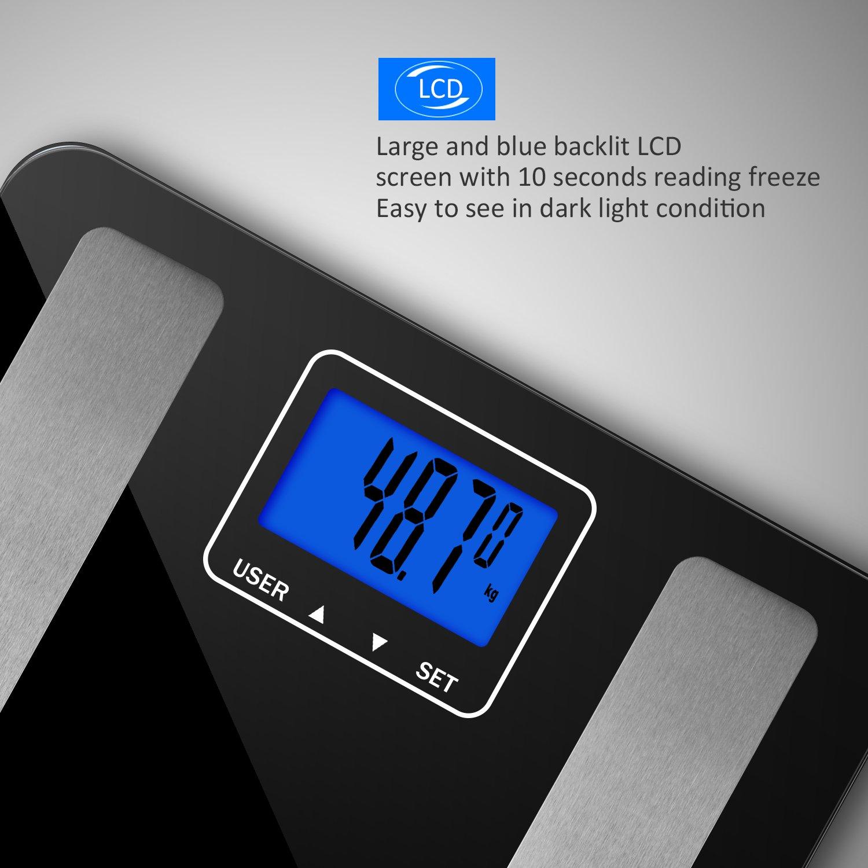 Vitafit Digitale Personenwaage Körperfettwaage Waage Körperanalysewaage mit gehärtetem Glas, Körperwaage Messen bis 180kg Gewicht Körperfett Körperwasser Knochenmaß BMI,große LCD Anzeige,Schwarz