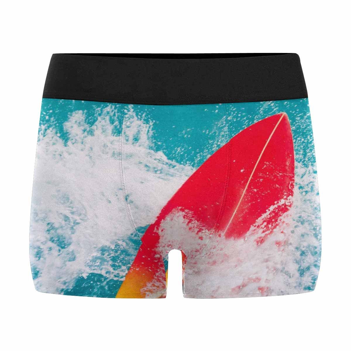 Surfing in Blue Ocean INTERESTPRINT Custom Mens Boxer Briefs Surfer on Red Surfboard Ride on Wave XS-3XL