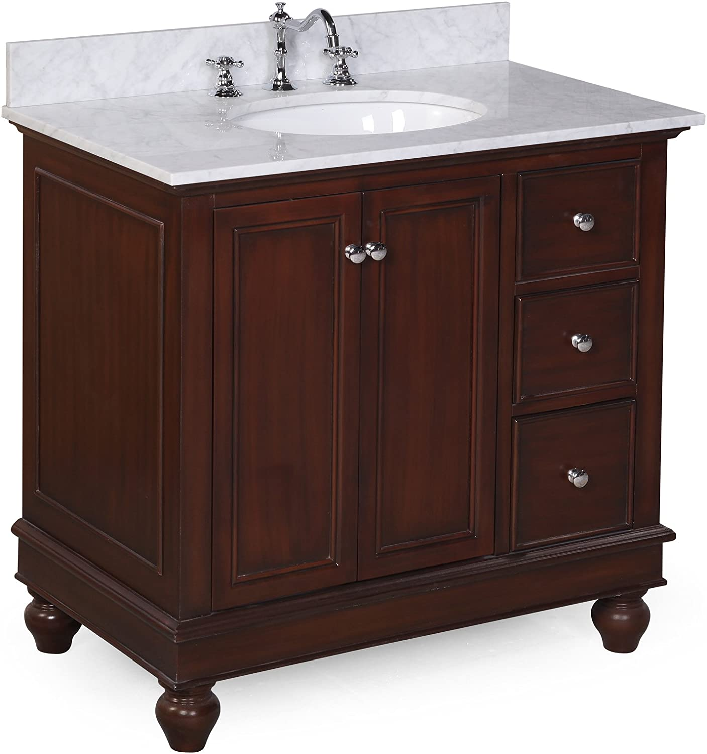 Bella 36-inch Bathroom Vanity Carrara Chocolate Includes a Chocolate Cabinet with Soft Close Drawers, Authentic Italian Carrara Marble Countertop, and White Ceramic Sink