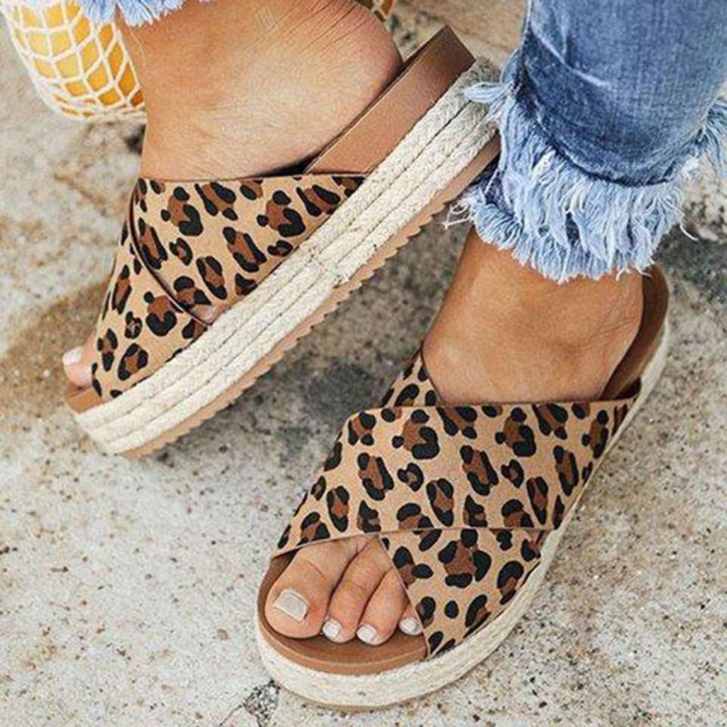 SUNyongsh Womens Sandal Leopard Print Mules Casual Thick-Bottom Slides Platform Beach Shoes Slippers PU Shoes