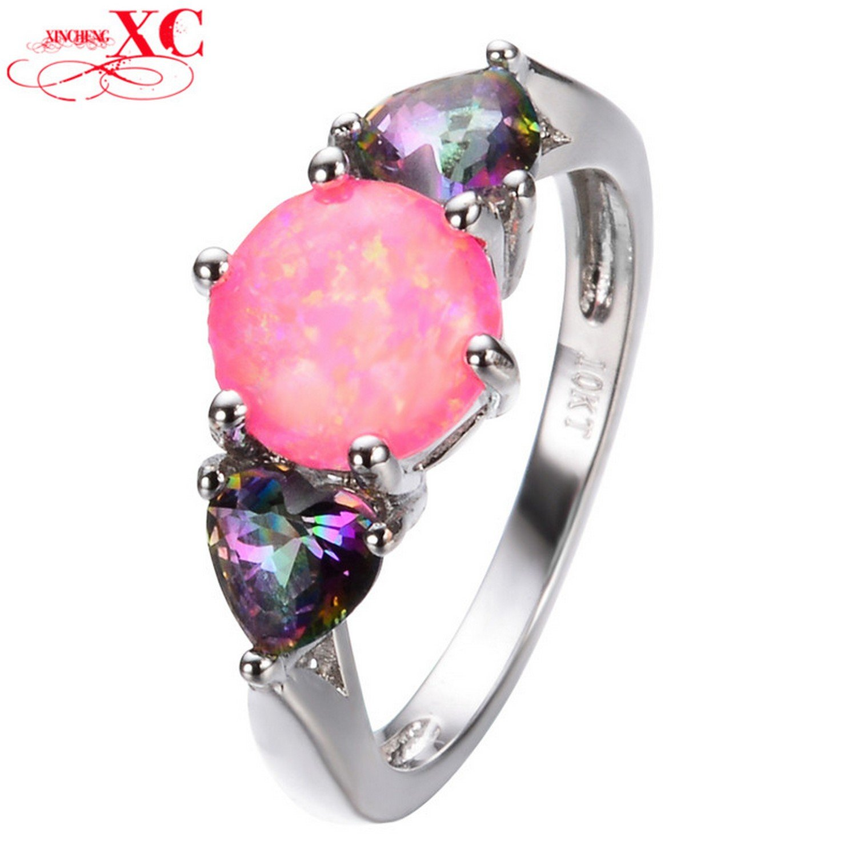 Amazon.com: Dudee Jewelry Lovely Double Heart Style Pink Fire Opal ...