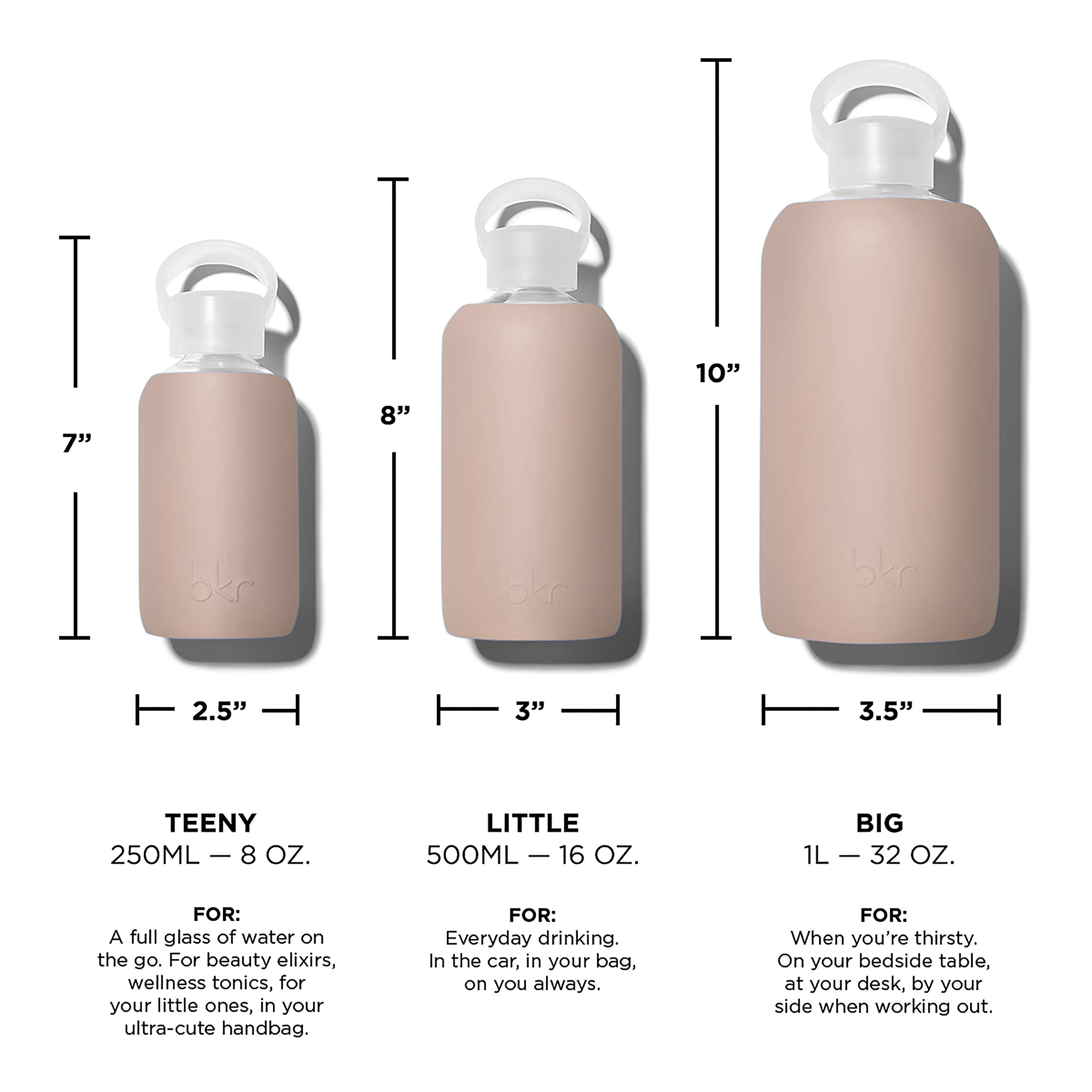 bkr Naked Glass Water Bottle with Smooth Silicone Sleeve for Travel, Narrow Mouth, BPA-Free & Dishwasher Safe, Opaque Light Chocolate Milk Nude, 8 oz / 250 mL by bkr (Image #6)