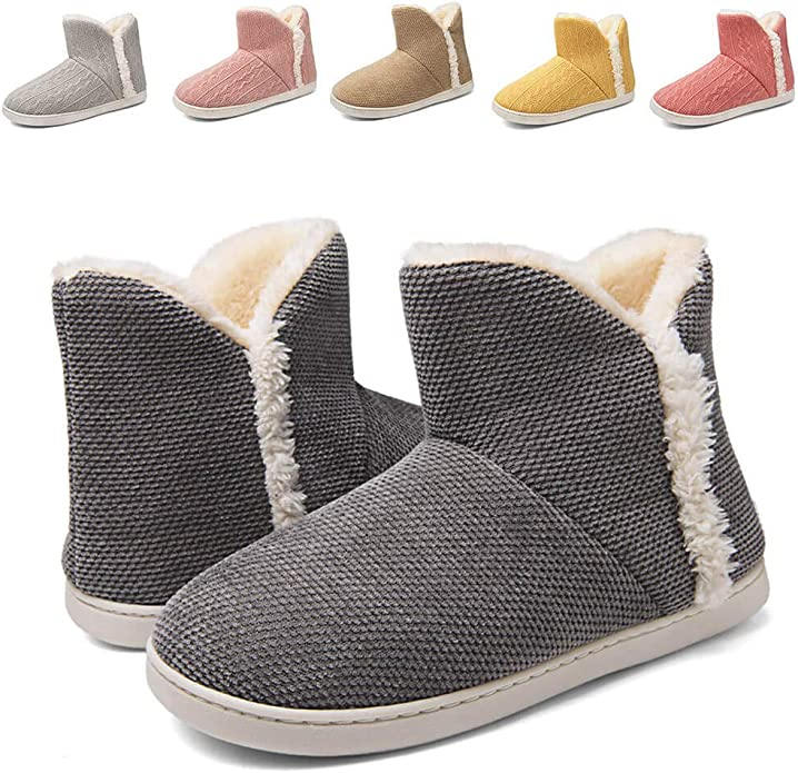 Women Warm Bootie Slippers Fluffy Memory Foam Plush Lining Slip-on House Shoes Indoor Outdoor Winter Bootie Slippers