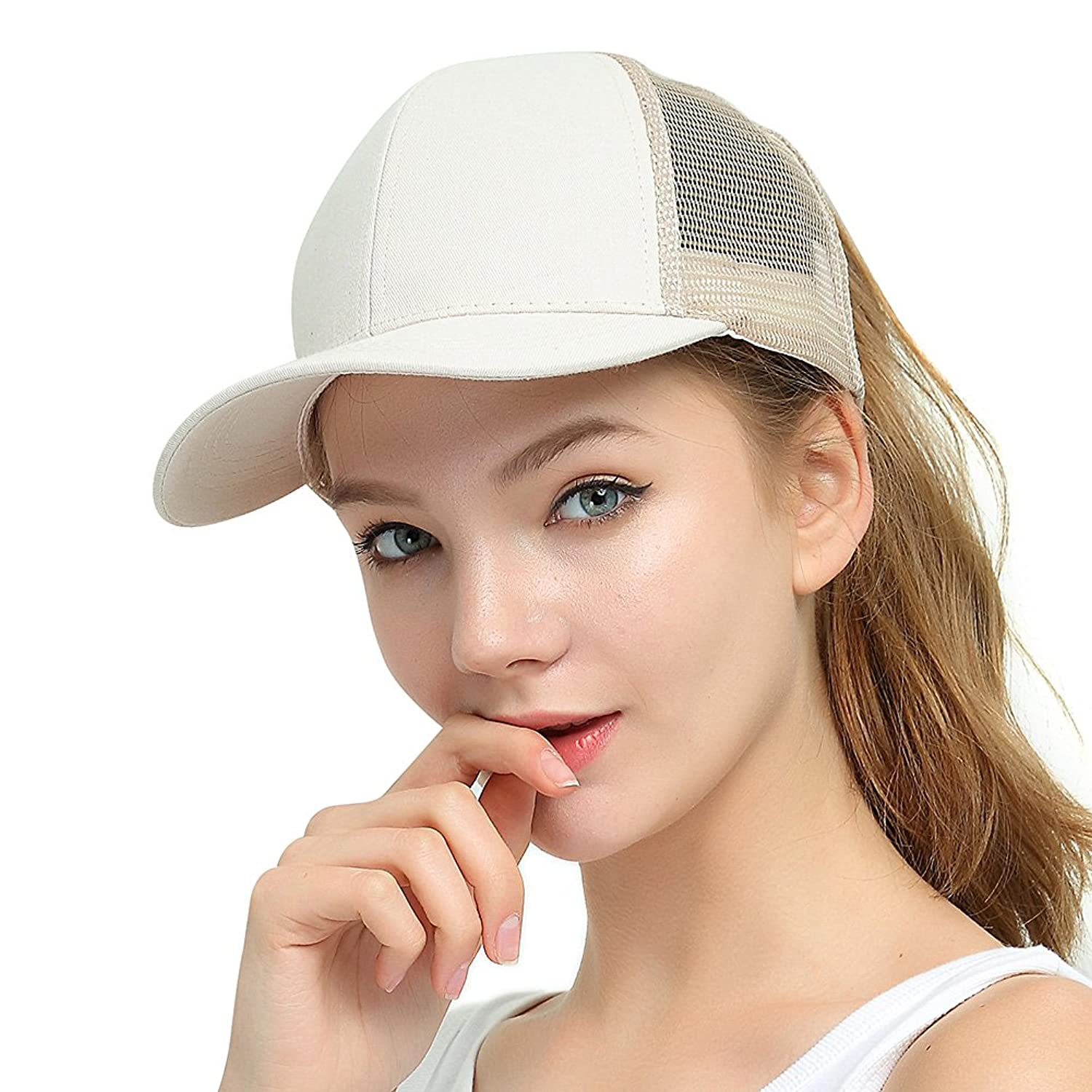 Women's Baseball Caps New Women Ponytail Cap Casual Hat White Black Solid Cotton High Quality Woman Hair Messy Beauty Hat Female Brand Baseball Caps Modern Techniques