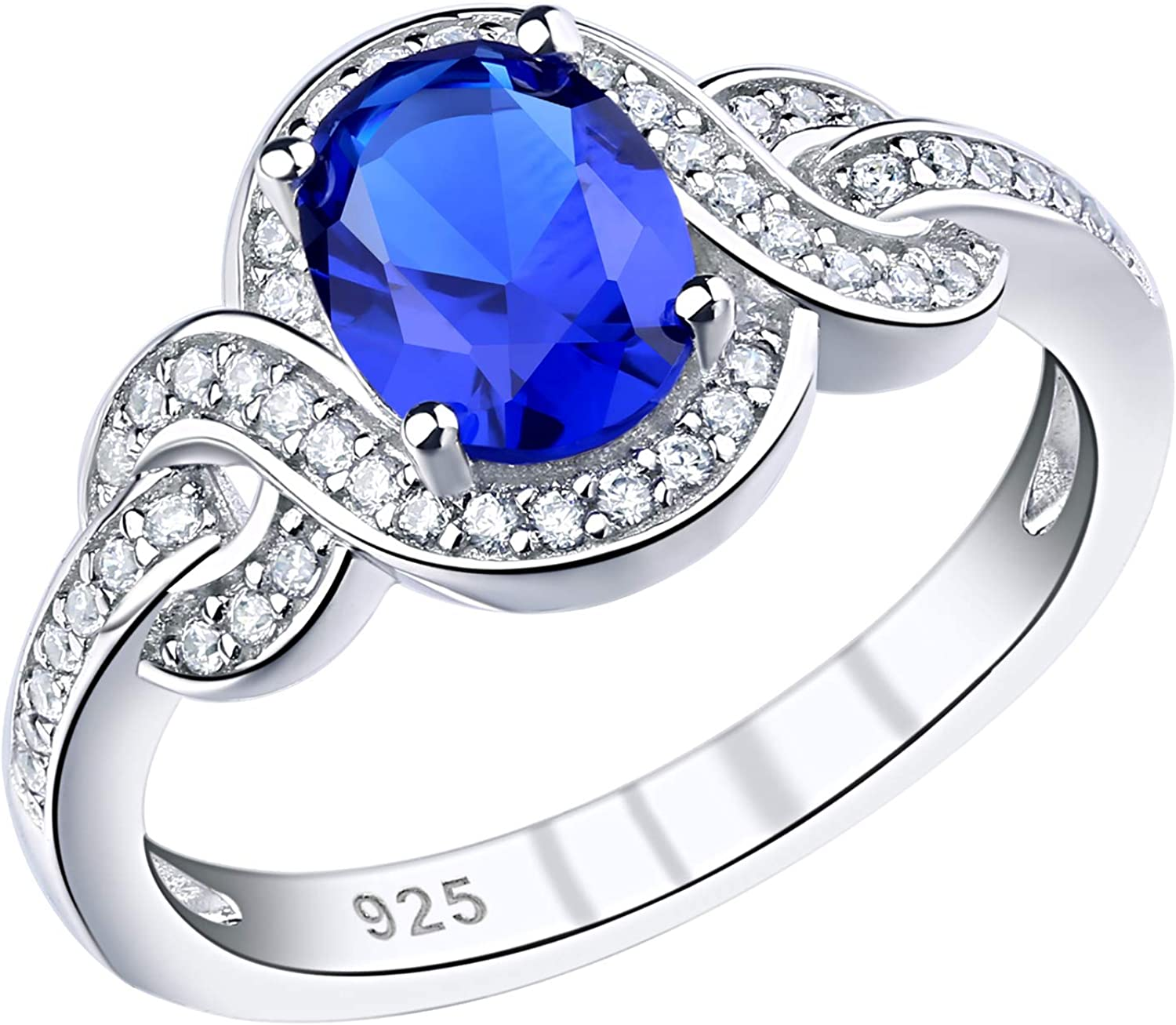 SHELOVES Womens Engagement Ring Blue Oval Cut Cubic Zirconia Promise Rings Sterling Silver Size 5-10