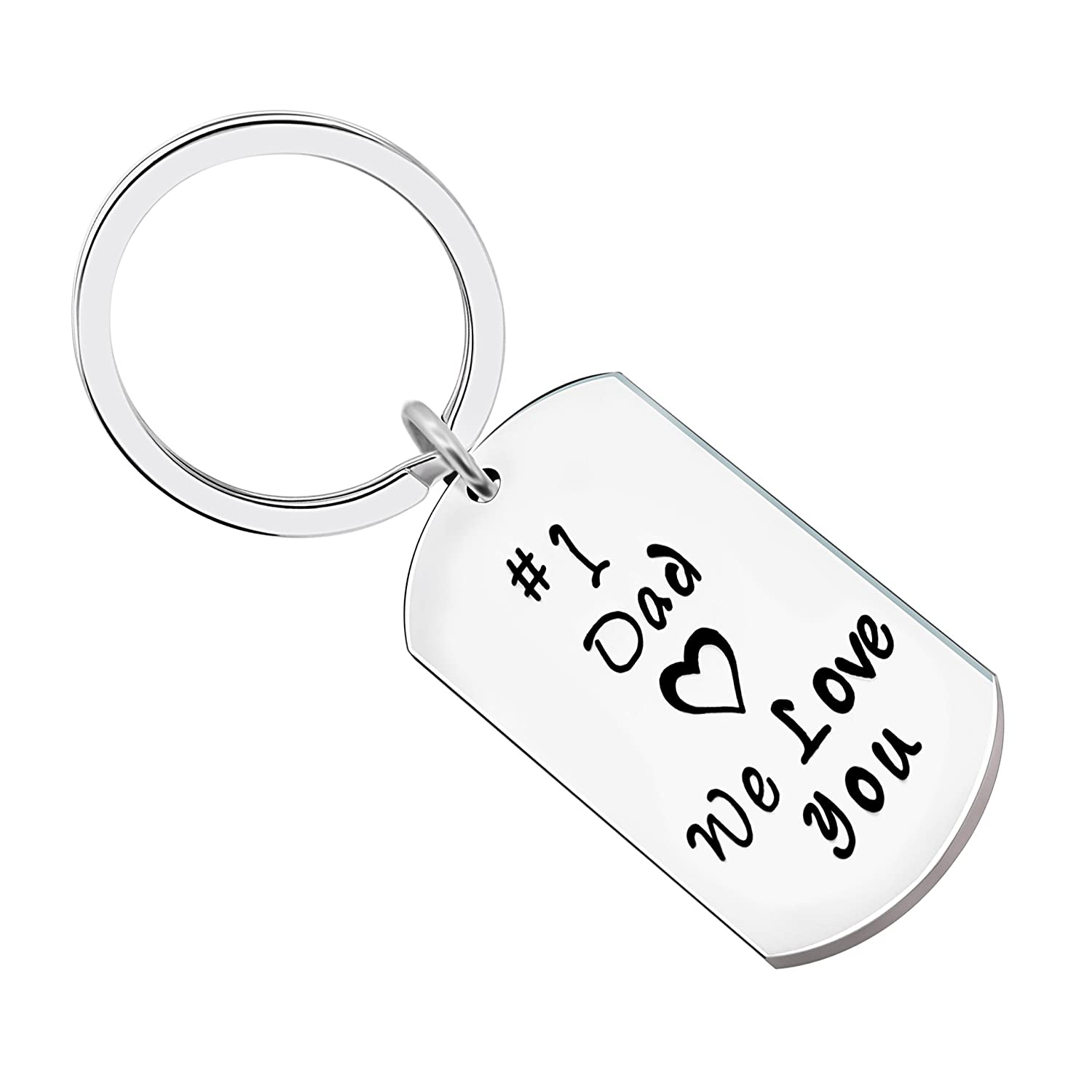 Key Chain Men Father Gifts for Dad Papa - No.1 Dad We Loved You Stainless Steel lauhonmin