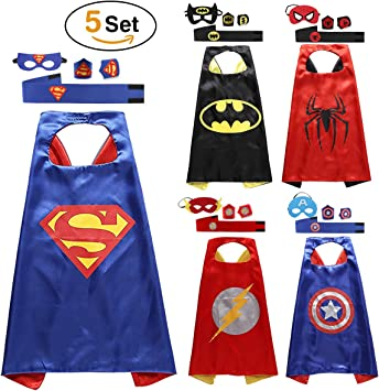 Quality Children Kids Super Hero Cape Mask Fancy Costume Ball Birthday Party UK