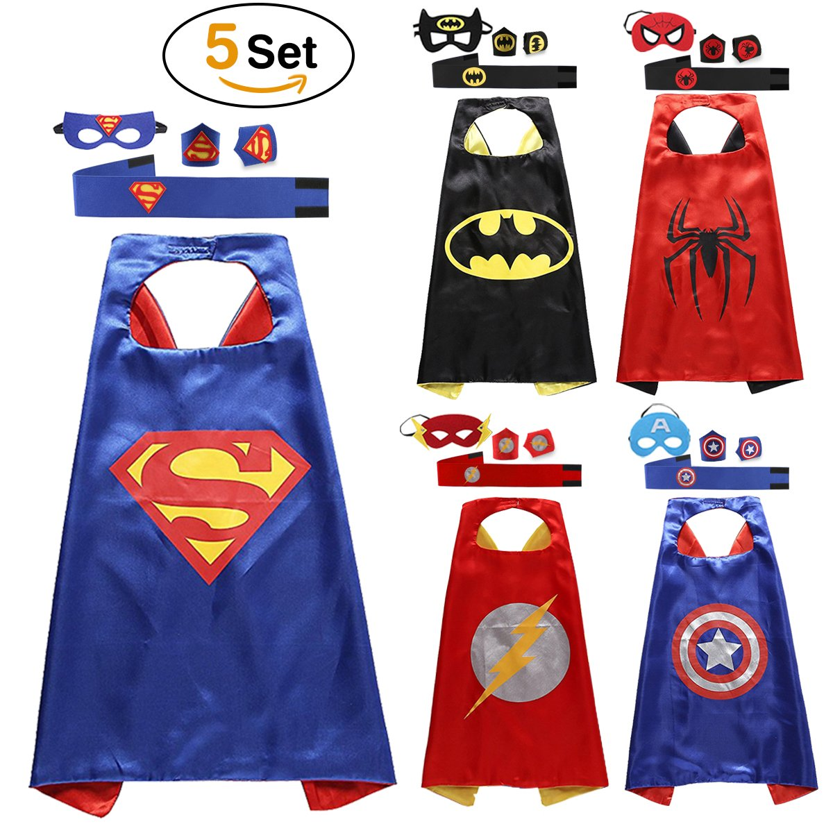Lovne Superhero Capes for Kids Superhero Dress Up Costume Mask Boys ...