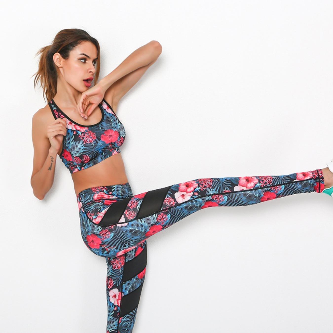 Floral Printed Women Yoga Set Mesh Splice Port Bra Leggings Vintage Sports Clothing