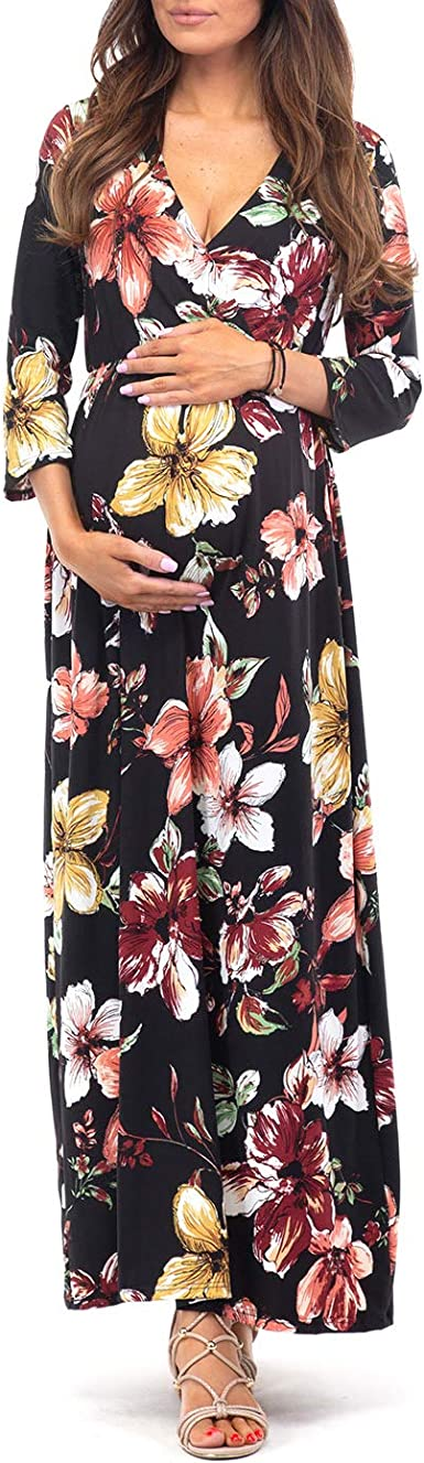 Mother Bee Maternity 3 4 Sleeve Ruched Maternity Dress W Empire Waist For Baby Showers Or Casual Wear At Amazon Women S Clothing Store