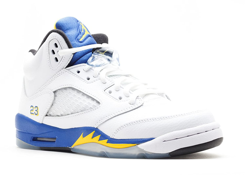 where can i buy huge sale sleek Nike Boys Air Jordan 5 Retro (GS) Laney White/Varsity Maize-Royal-Blk  Leather Basketball Shoes Size 6.5Y